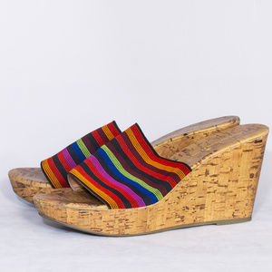 Montego Bay Club Size 9 Multi Color w/ Cork wedge